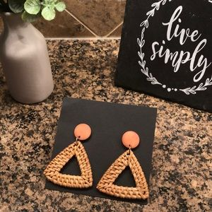 Woven medium brown statement earrings